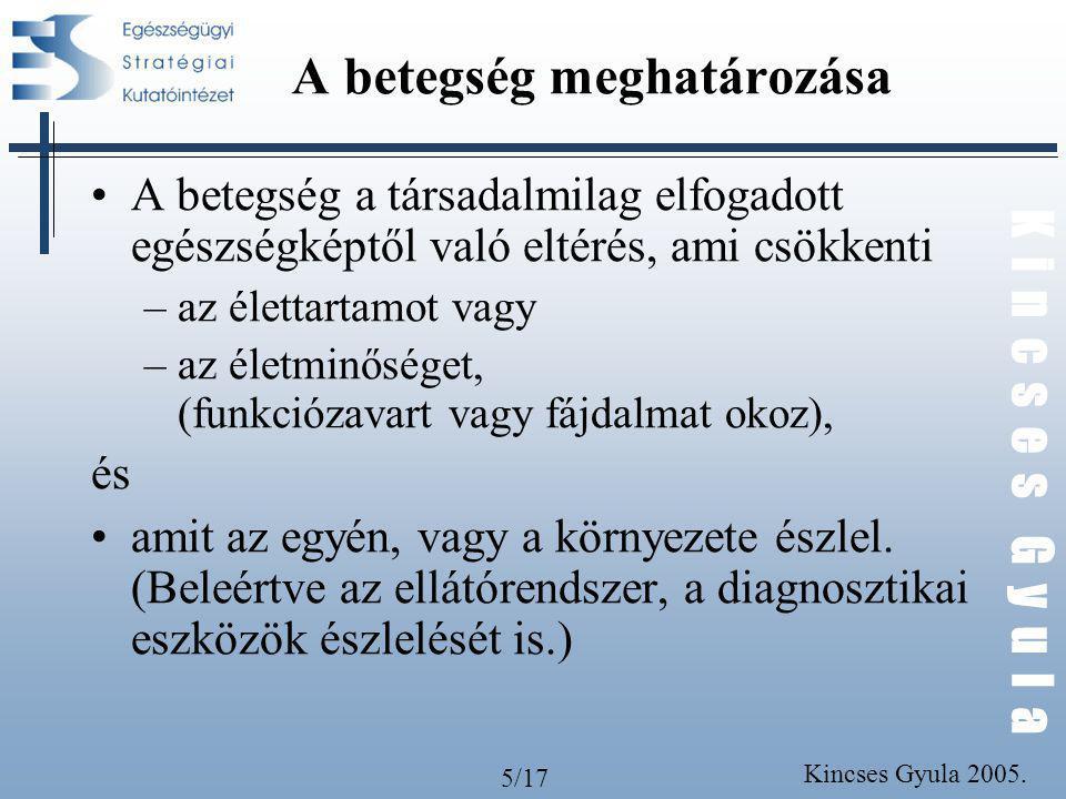 5/17 K i n c s e s G y u l a Kincses Gyula 2005. A betegség meghatározása A betegség a társadalmilag elfogadott egészségképtől való eltérés, ami csökk