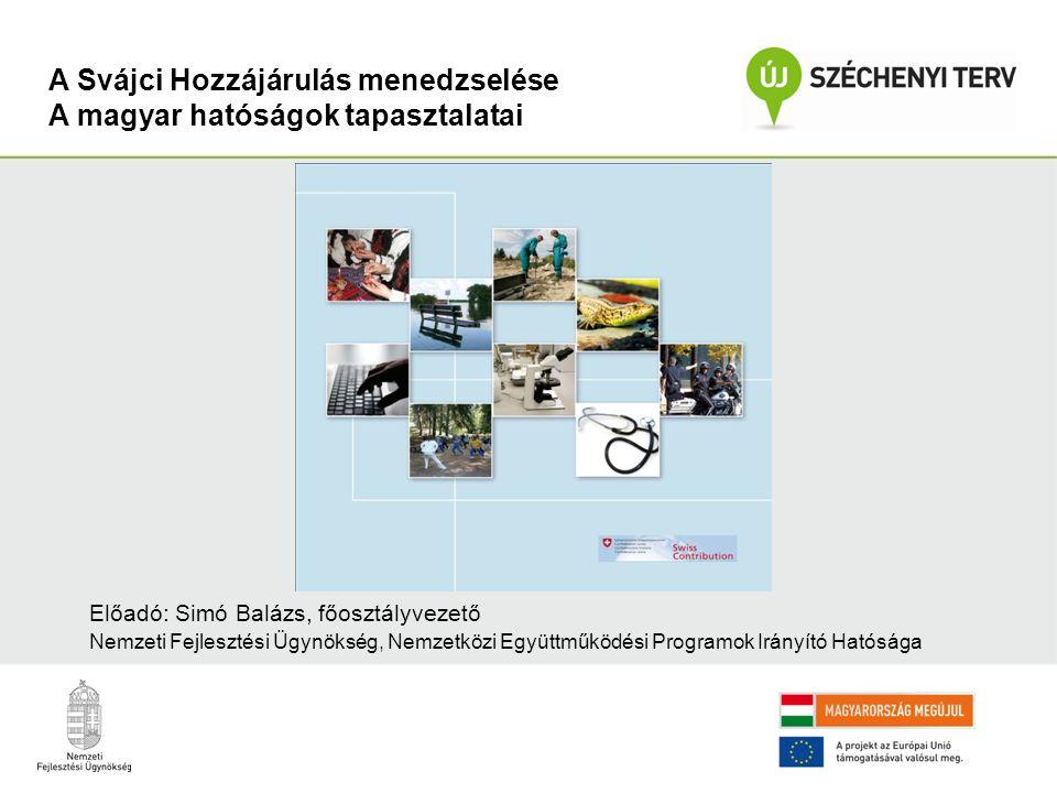 A Svájci Hozzájárulás menedzselése A magyar hatóságok tapasztalatai Előadó: Simó Balázs, főosztályvezető Nemzeti Fejlesztési Ügynökség, Nemzetközi Együttműködési Programok Irányító Hatósága