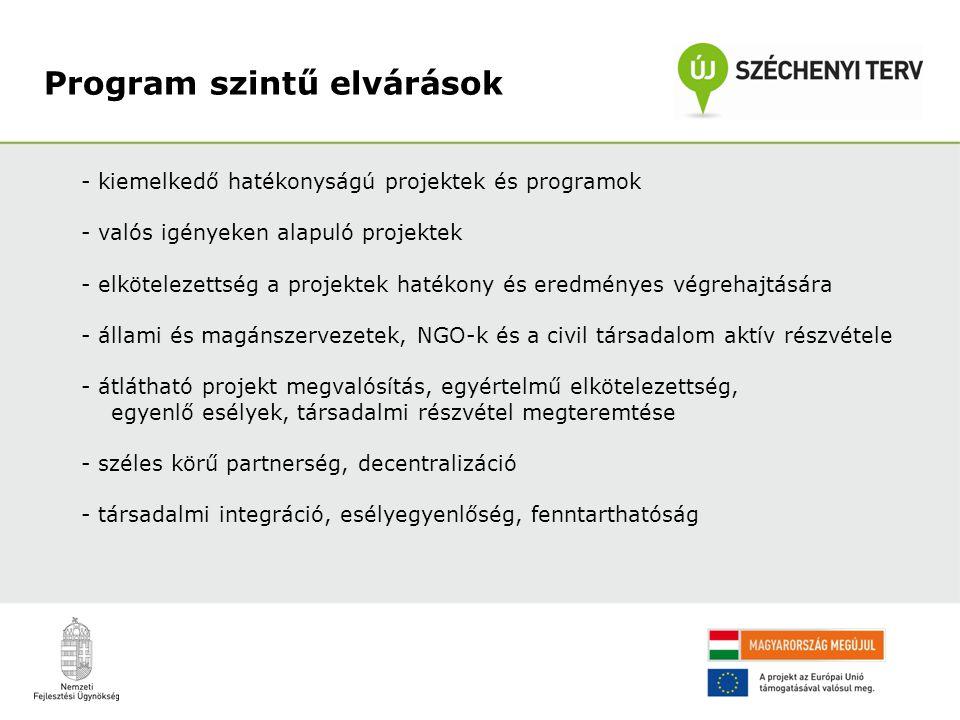 - kiemelkedő hatékonyságú projektek és programok - valós igényeken alapuló projektek - elkötelezettség a projektek hatékony és eredményes végrehajtására - állami és magánszervezetek, NGO-k és a civil társadalom aktív részvétele - átlátható projekt megvalósítás, egyértelmű elkötelezettség, egyenlő esélyek, társadalmi részvétel megteremtése - széles körű partnerség, decentralizáció - társadalmi integráció, esélyegyenlőség, fenntarthatóság Program szintű elvárások