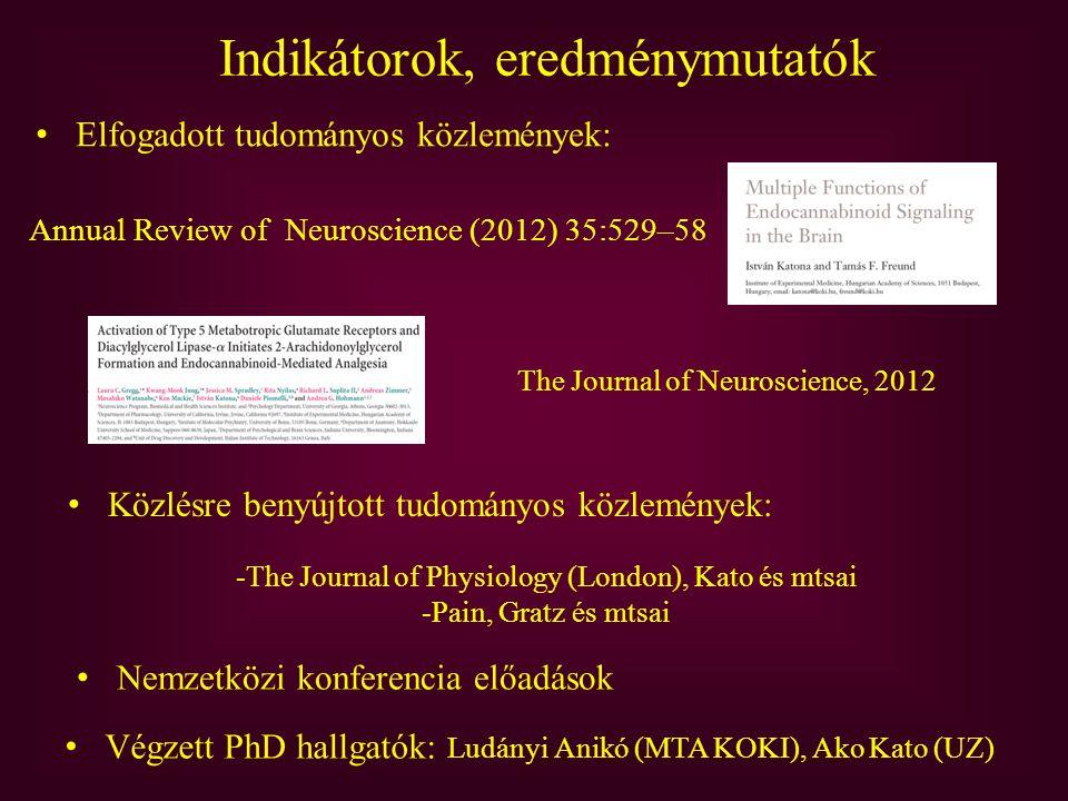 Indikátorok, eredménymutatók Annual Review of Neuroscience (2012) 35:529–58 Végzett PhD hallgatók: Ludányi Anikó (MTA KOKI), Ako Kato (UZ) Elfogadott tudományos közlemények: Közlésre benyújtott tudományos közlemények: -The Journal of Physiology (London), Kato és mtsai -Pain, Gratz és mtsai The Journal of Neuroscience, 2012 Nemzetközi konferencia előadások