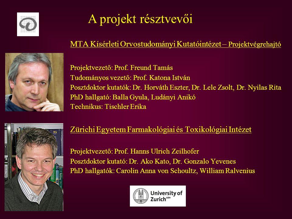 A projekt résztvevői MTA Kísérleti Orvostudományi Kutatóintézet – Projektvégrehajtó Projektvezető: Prof.