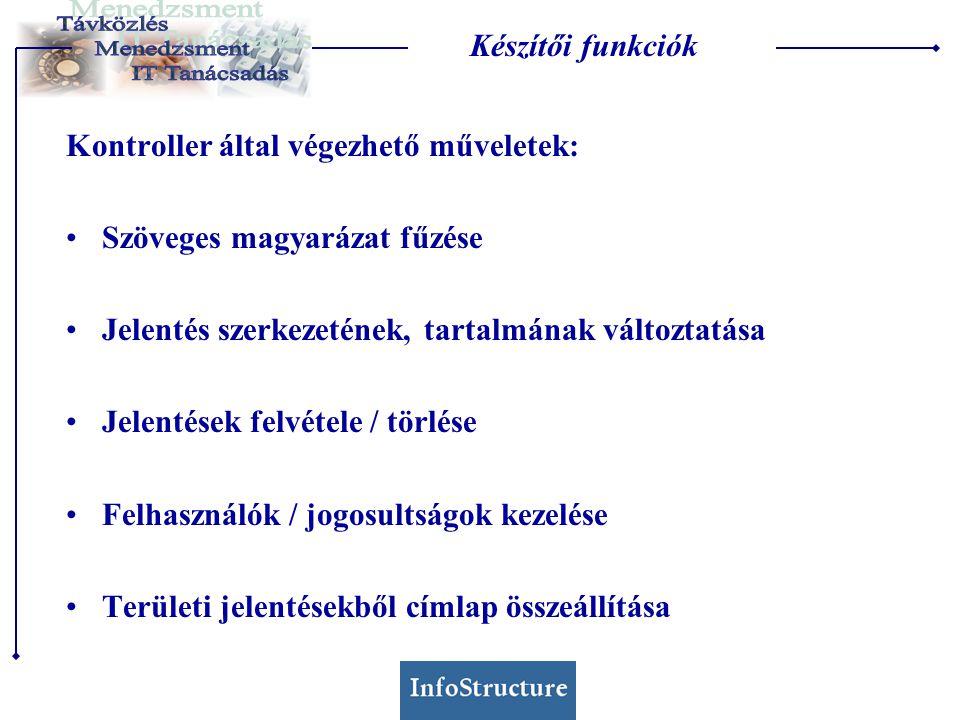 Készítői funkciók Kontroller által végezhető műveletek: Szöveges magyarázat fűzése Jelentés szerkezetének, tartalmának változtatása Jelentések felvétele / törlése Felhasználók / jogosultságok kezelése Területi jelentésekből címlap összeállítása