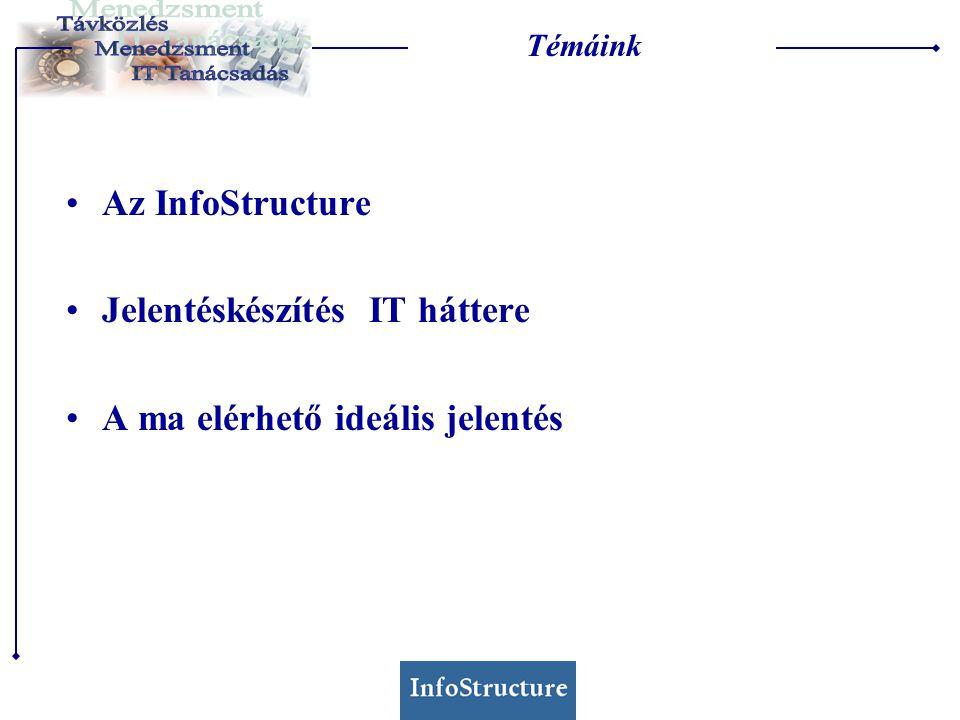 Témáink Az InfoStructure Jelentéskészítés IT háttere A ma elérhető ideális jelentés