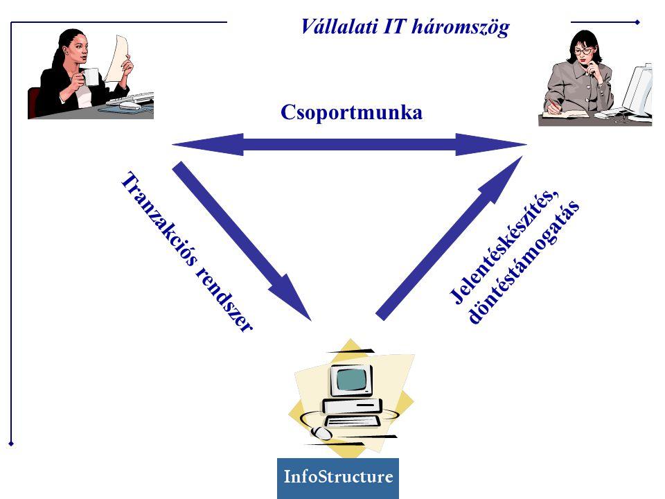Tranzakciós rendszer Főkönyvi ERP Termelésirányítás Számlázás Adatpiac Adatbányászat Adatvizualizáció Adattárház Dokumentum management Email Workflow Csoportmunka Tranzakciós rendszer Jelentéskészítés, döntéstámogatás Vállalati IT háromszög