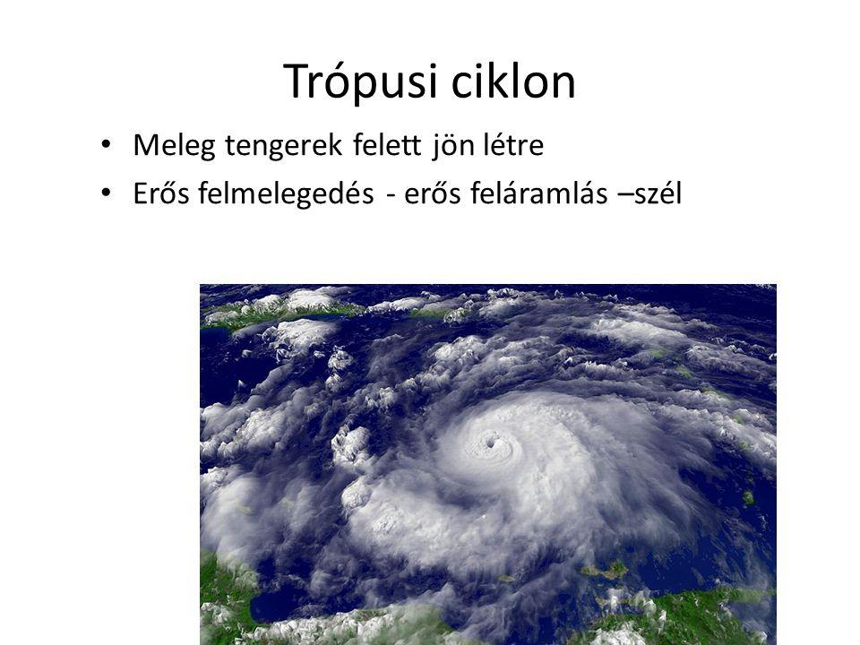 Trópusi ciklon Meleg tengerek felett jön létre Erős felmelegedés - erős feláramlás –szél