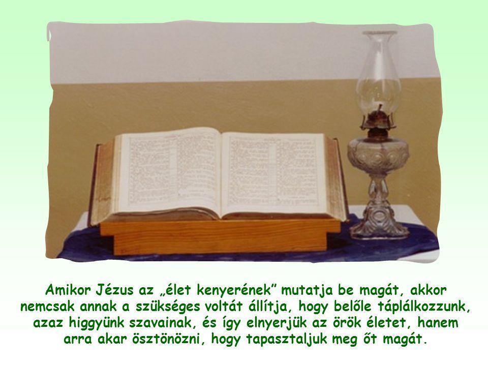"""""""Ne fáradozzatok veszendő eledelért, hanem azért, mely az örök életre megmarad, amelyet az Emberfia ad majd nektek."""""""