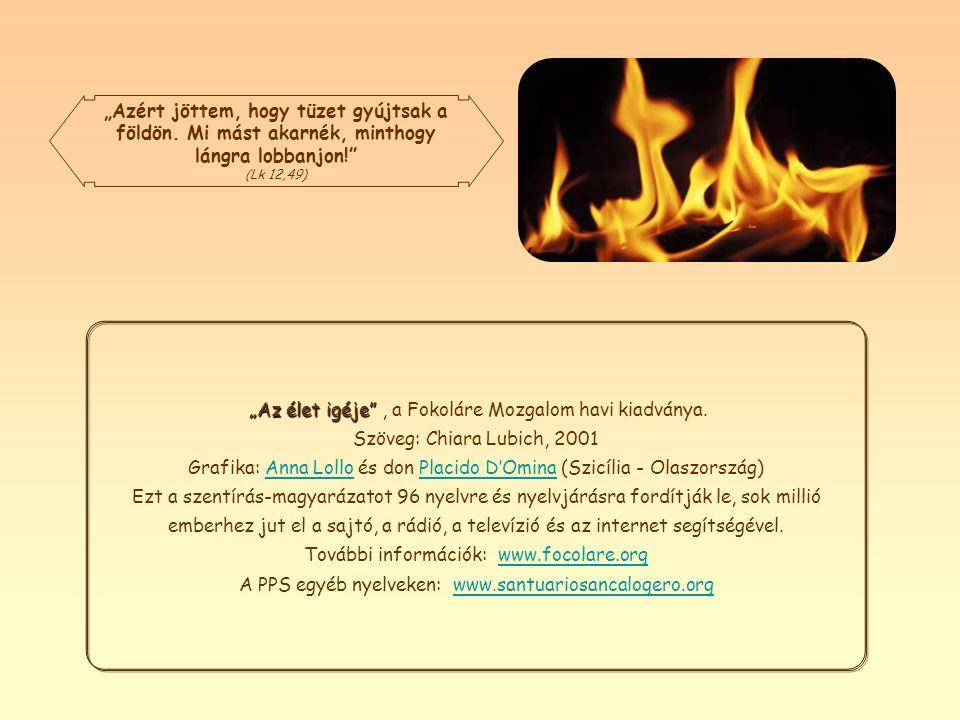 A lángoló tűz, bármennyire kicsiny, ha van ami táplálja, hatalmas tűzvésszé válhat. A szeretet, a béke, az egyetemes testvériség tűzvészévé, amelyet J