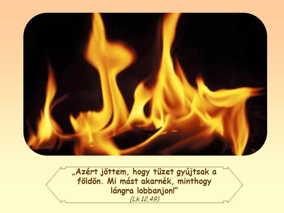 Jézus küldetése tehát: tűzbe borítani a földet, nekünk adni a megújító és megtisztító erejű Szentlelket.