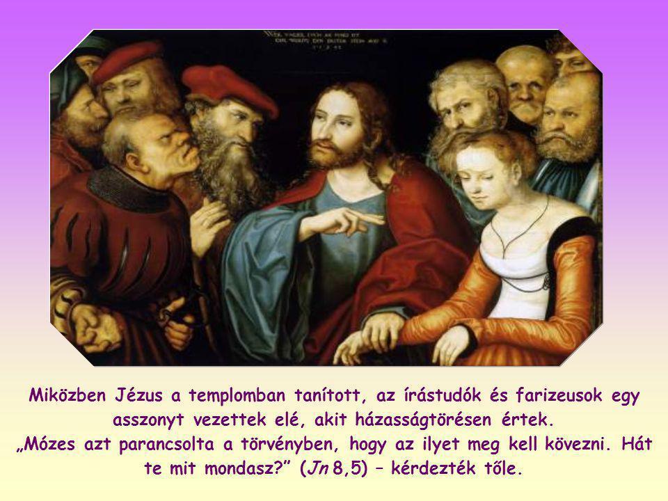 Jézus egyszerűen csak a képmutatást akarja leleplezni, azokat, akik bíráskodnak testvéreik felett anélkül, hogy beismernék saját bűnösségüket.