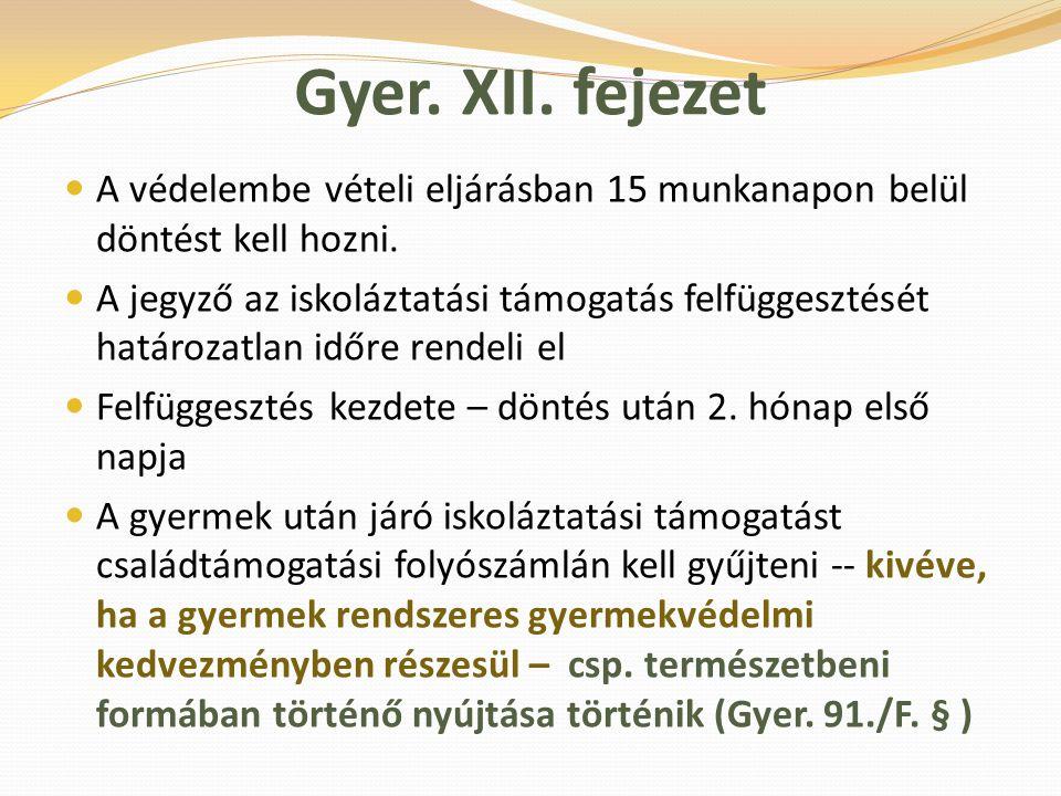 Gyer. XII. fejezet A védelembe vételi eljárásban 15 munkanapon belül döntést kell hozni. A jegyző az iskoláztatási támogatás felfüggesztését határozat