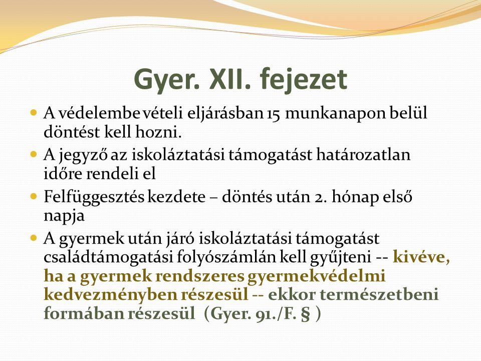 Gyer. XII. fejezet A védelembe vételi eljárásban 15 munkanapon belül döntést kell hozni. A jegyző az iskoláztatási támogatást határozatlan időre rende