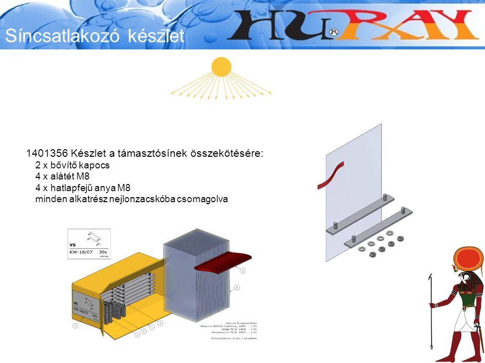 Síncsatlakozó készlet 1401356 Készlet a támasztósínek összekötésére: 2 x bővítő kapocs 4 x alátét M8 4 x hatlapfejű anya M8 minden alkatrész nejlonzacskóba csomagolva