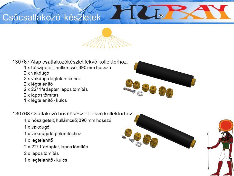 130767 Alap csatlakozókészlet fekvő kollektorhoz: 1 x hőszigetelt, hullámcső; 390 mm hosszú 2 x vakdugó 2 x vakdugó légtelenítéshez 2 x légtelenítő 2 x 22/ 1 adapter, lapos tömítés 2 x lapos tömítés 1 x légtelenítő - kulcs 130768 Csatlakozó bővítőkészlet fekvő kollektorhoz: 1 x hőszigetelt, hullámcső; 390 mm hosszú 1 x vakdugó 1 x vakdugó légtelenítéshez 1 x légtelenítő 2 x 22/ 1 adapter, lapos tömítés 2 x lapos tömítés 1 x légtelenítő - kulcs Csőcsatlakozó készletek