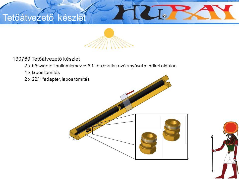 Tetőátvezető készlet 130769 Tetőátvezető készlet 2 x hőszigetelt hullámlemez cső 1 -os csatlakozó anyával mindkét oldalon 4 x lapos tömítés 2 x 22/ 1 adapter, lapos tömítés