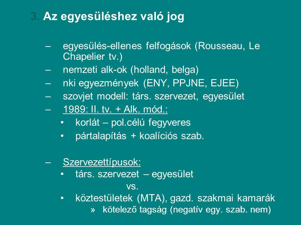 3. Az egyesüléshez való jog –egyesülés-ellenes felfogások (Rousseau, Le Chapelier tv.) –nemzeti alk-ok (holland, belga) –nki egyezmények (ENY, PPJNE,