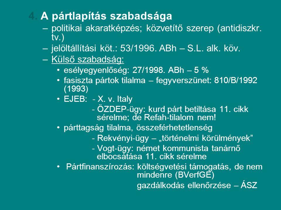 4. A pártlapítás szabadsága –politikai akaratképzés; közvetítő szerep (antidiszkr. tv.) –jelöltállítási köt.: 53/1996. ABh – S.L. alk. köv. –Külső sza