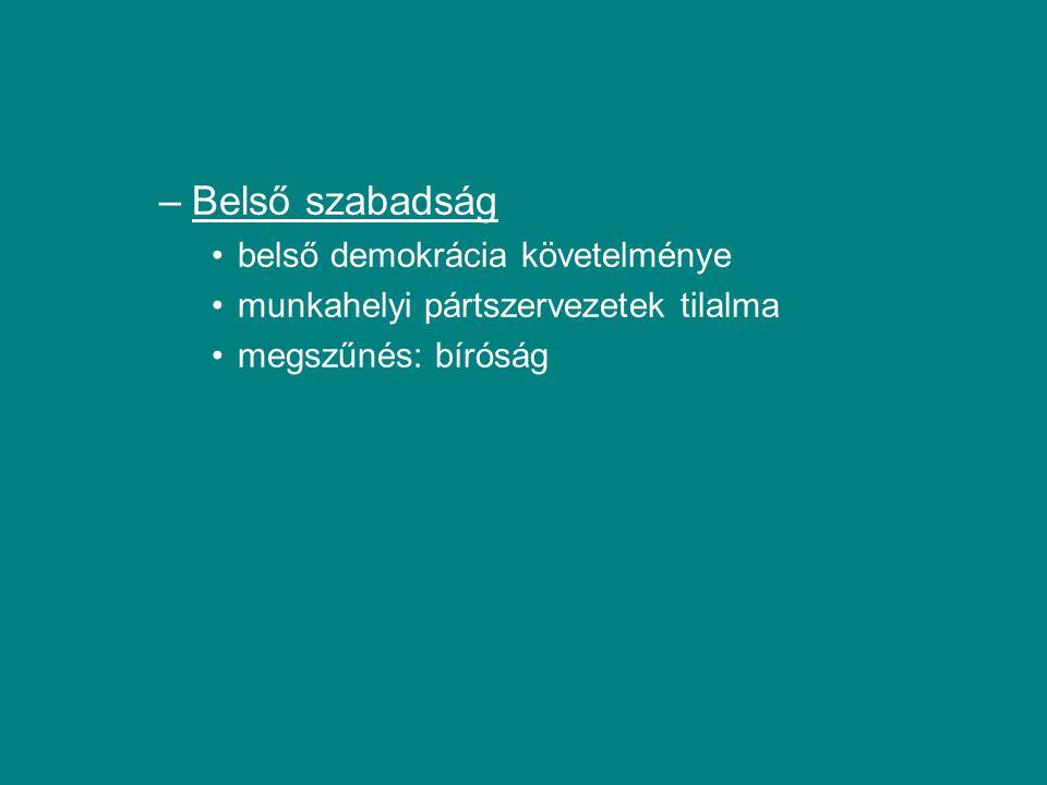 –Belső szabadság belső demokrácia követelménye munkahelyi pártszervezetek tilalma megszűnés: bíróság