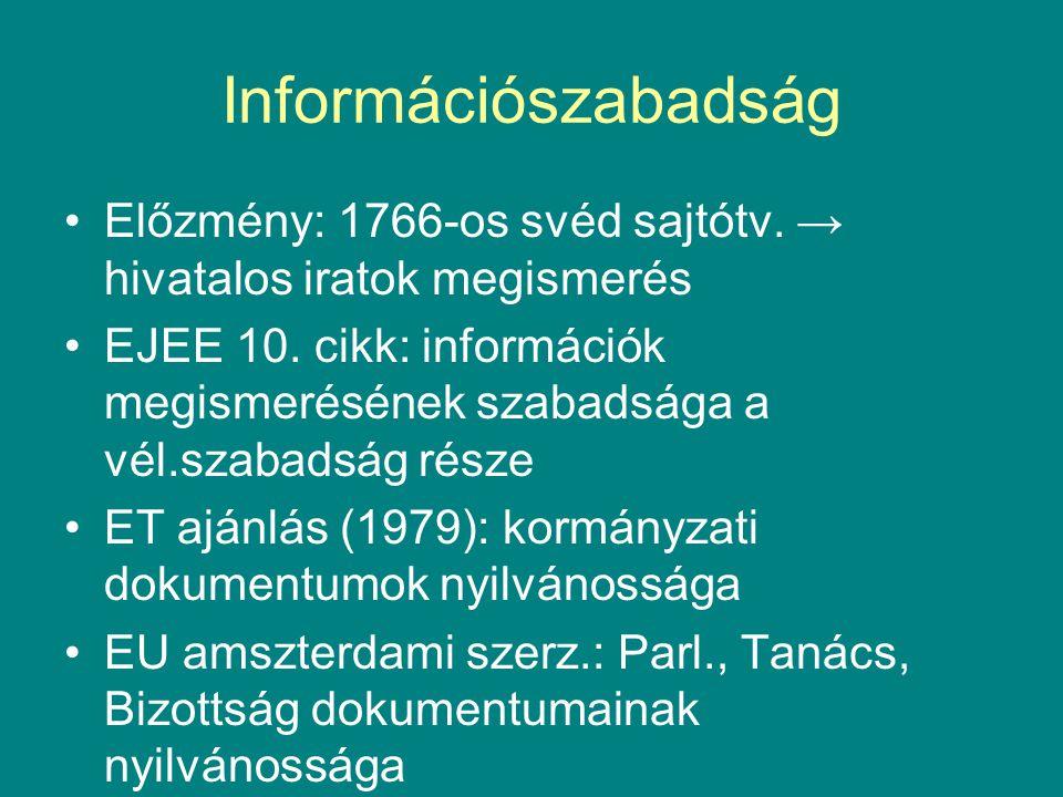 Információszabadság Előzmény: 1766-os svéd sajtótv. → hivatalos iratok megismerés EJEE 10. cikk: információk megismerésének szabadsága a vél.szabadság