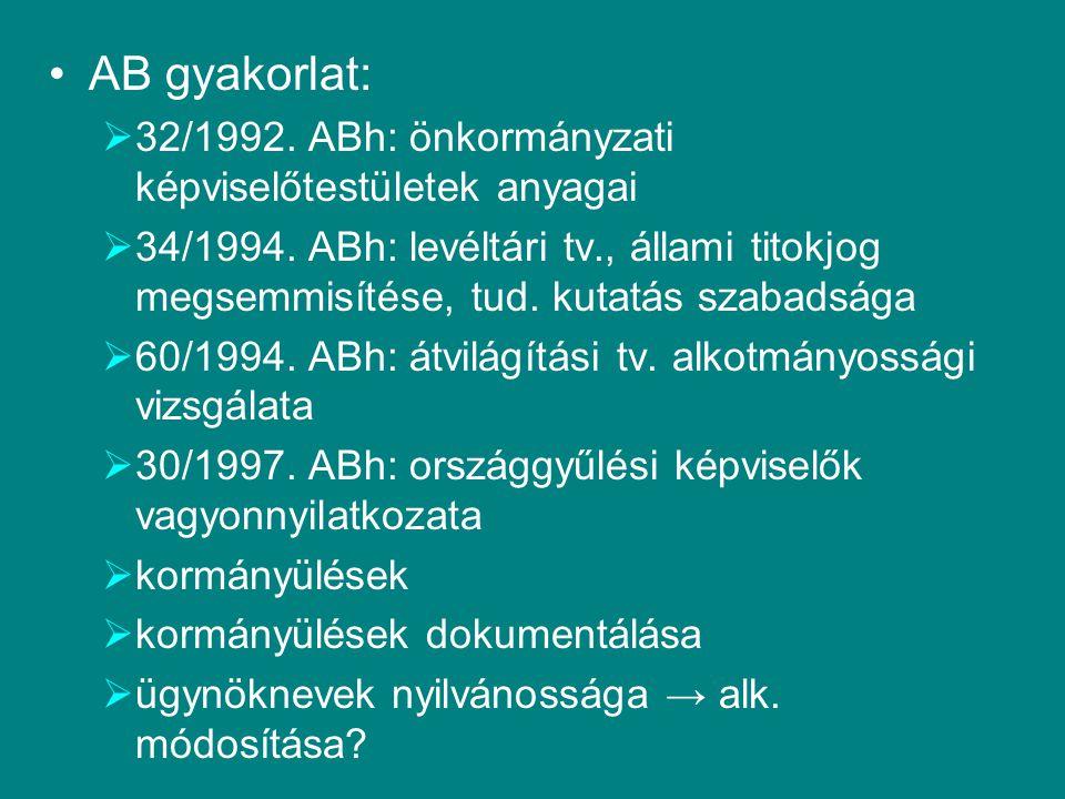 AB gyakorlat:  32/1992. ABh: önkormányzati képviselőtestületek anyagai  34/1994. ABh: levéltári tv., állami titokjog megsemmisítése, tud. kutatás sz