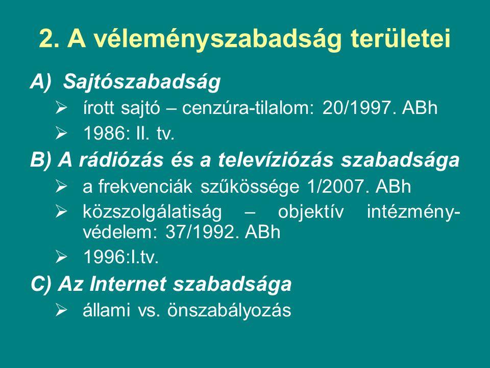 2. A véleményszabadság területei A)Sajtószabadság  írott sajtó – cenzúra-tilalom: 20/1997. ABh  1986: II. tv. B) A rádiózás és a televíziózás szabad