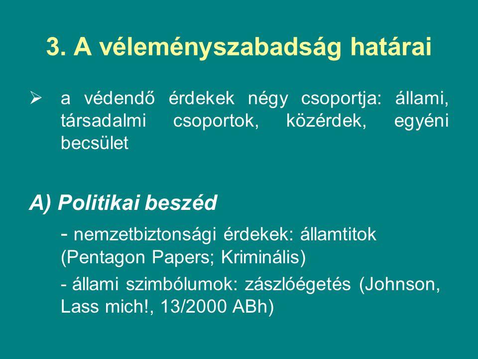 3. A véleményszabadság határai  a védendő érdekek négy csoportja: állami, társadalmi csoportok, közérdek, egyéni becsület A) Politikai beszéd - nemze
