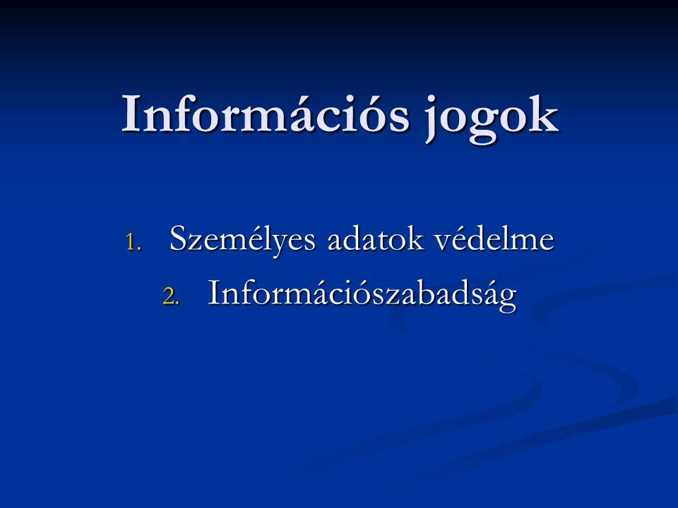 Információs jogok 1. Személyes adatok védelme 2. Információszabadság