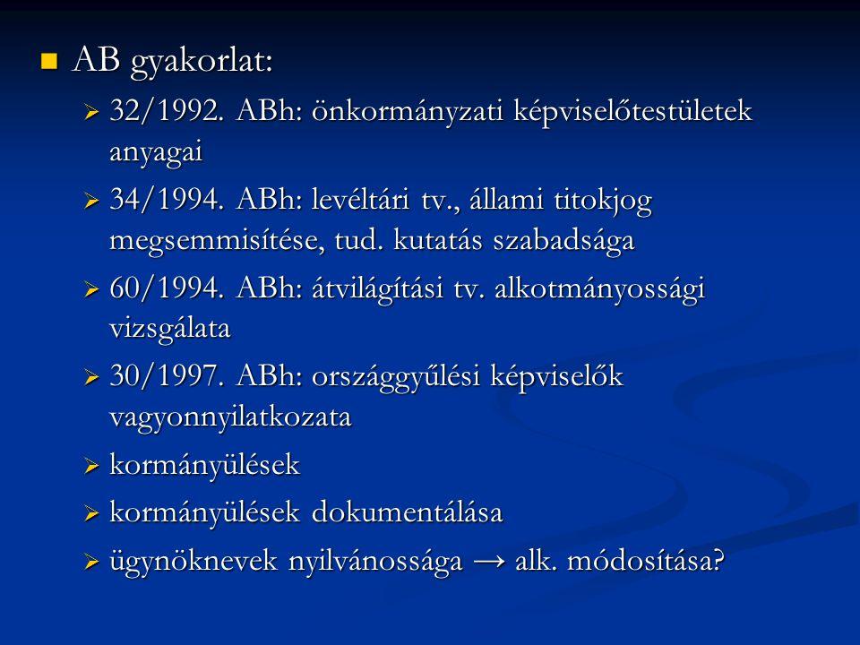 AB gyakorlat: AB gyakorlat:  32/1992. ABh: önkormányzati képviselőtestületek anyagai  34/1994. ABh: levéltári tv., állami titokjog megsemmisítése, t