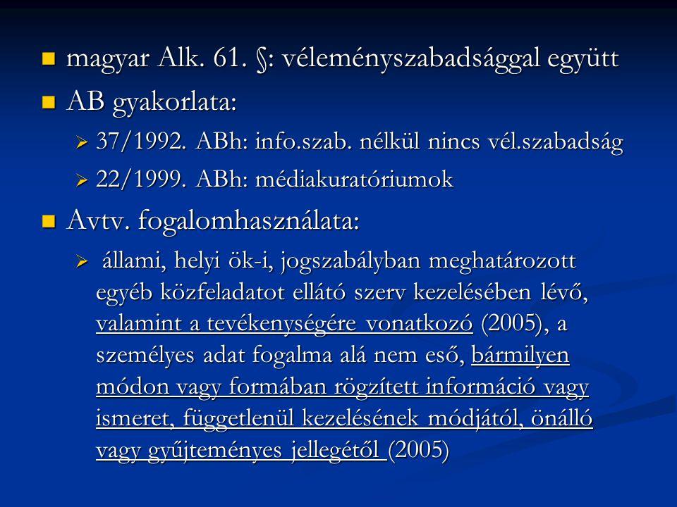 magyar Alk. 61. §: véleményszabadsággal együtt magyar Alk. 61. §: véleményszabadsággal együtt AB gyakorlata: AB gyakorlata:  37/1992. ABh: info.szab.