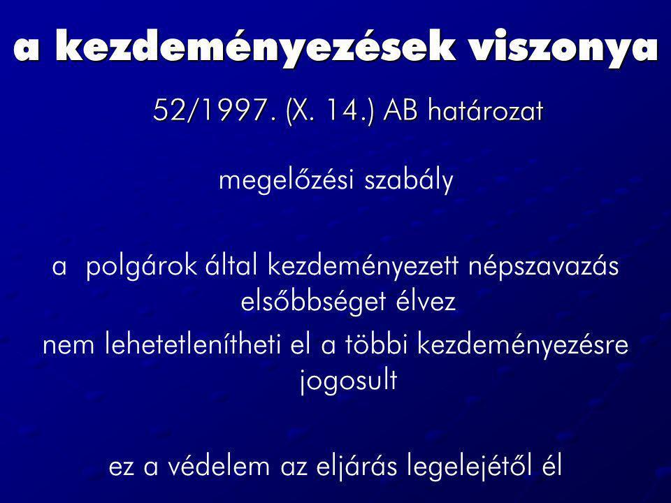 a kezdeményezések viszonya 52/1997. (X. 14.) AB határozat megelőzési szabály a polgárok által kezdeményezett népszavazás elsőbbséget élvez nem lehetet