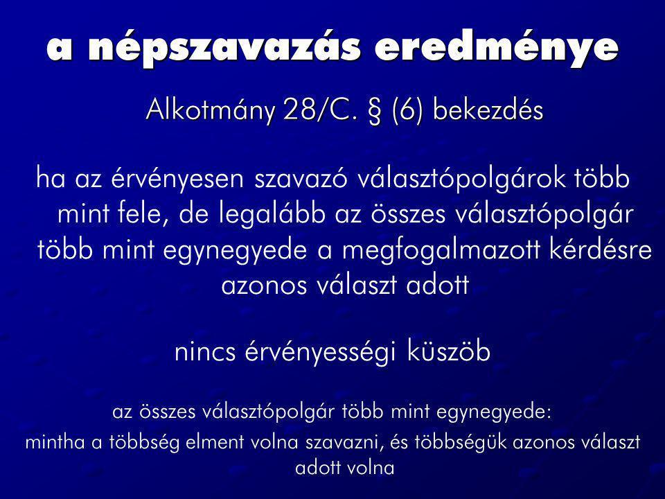 a népszavazás eredménye Alkotmány 28/C.