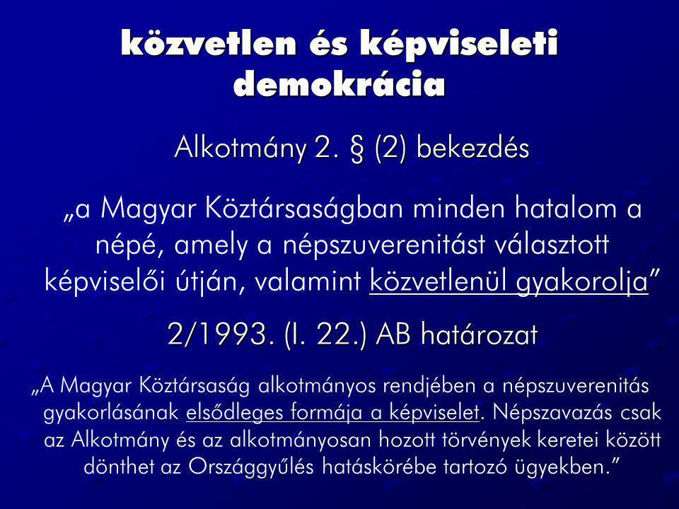 közvetlen és képviseleti demokrácia Alkotmány 2.
