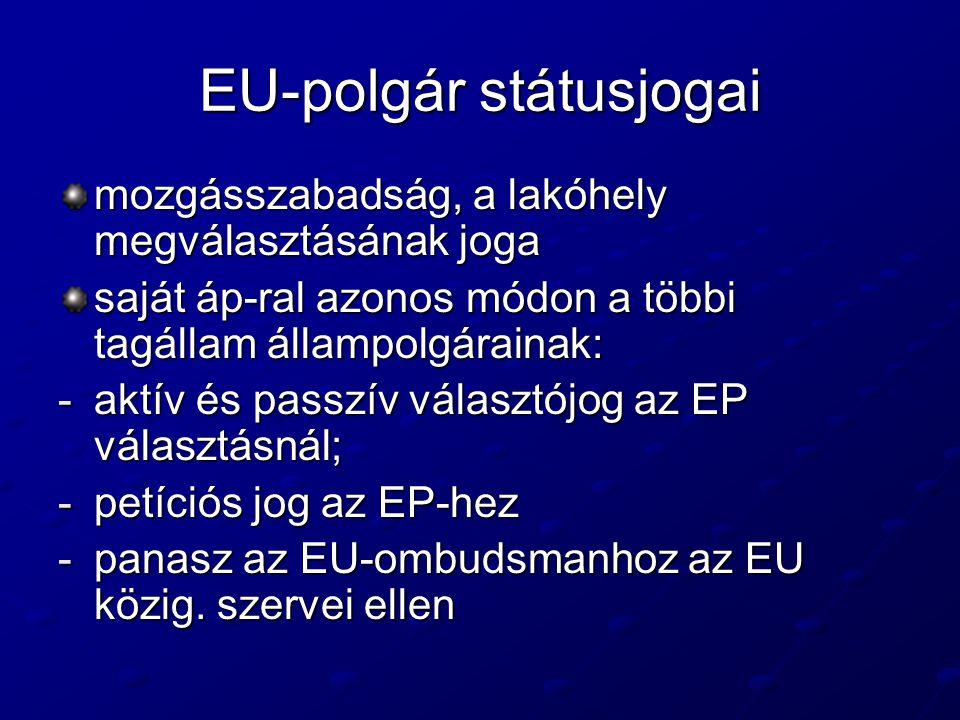 EU-polgár státusjogai mozgásszabadság, a lakóhely megválasztásának joga saját áp-ral azonos módon a többi tagállam állampolgárainak: -aktív és passzív választójog az EP választásnál; -petíciós jog az EP-hez -panasz az EU-ombudsmanhoz az EU közig.