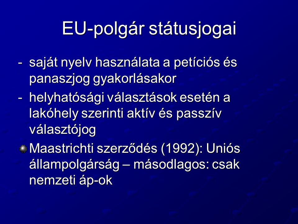 EU-polgár státusjogai -saját nyelv használata a petíciós és panaszjog gyakorlásakor -helyhatósági választások esetén a lakóhely szerinti aktív és passzív választójog Maastrichti szerződés (1992): Uniós állampolgárság – másodlagos: csak nemzeti áp-ok