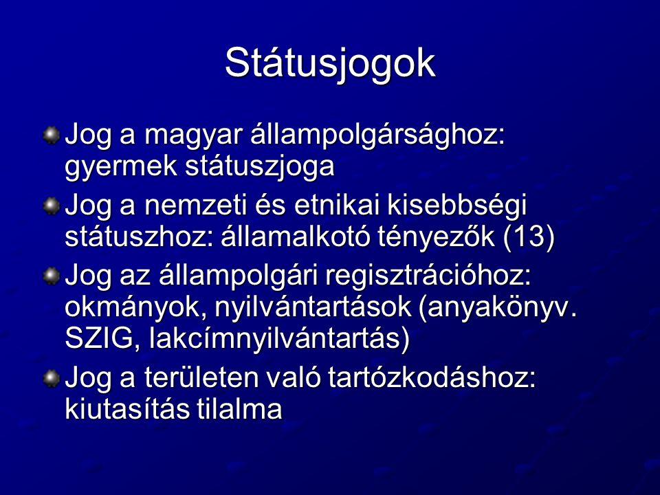 Státusjogok Jog a magyar állampolgársághoz: gyermek státuszjoga Jog a nemzeti és etnikai kisebbségi státuszhoz: államalkotó tényezők (13) Jog az állampolgári regisztrációhoz: okmányok, nyilvántartások (anyakönyv.