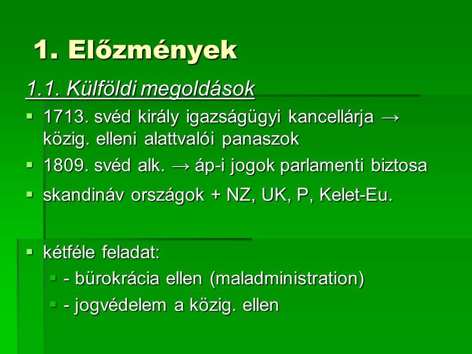 1. Előzmények 1.1. Külföldi megoldások  1713. svéd király igazságügyi kancellárja → közig.