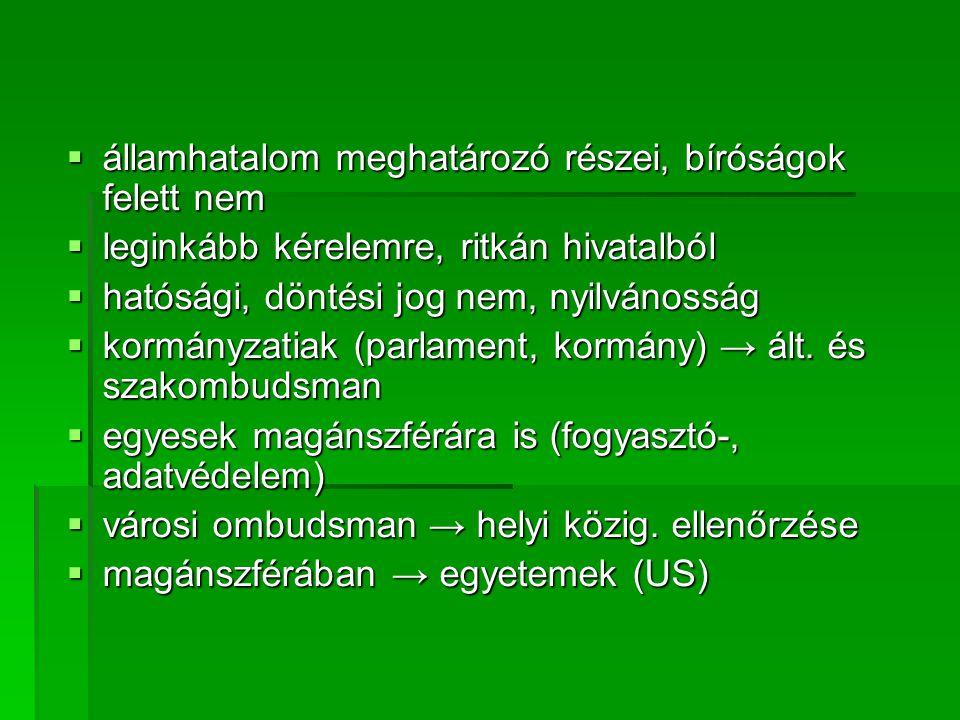  államhatalom meghatározó részei, bíróságok felett nem  leginkább kérelemre, ritkán hivatalból  hatósági, döntési jog nem, nyilvánosság  kormányzatiak (parlament, kormány) → ált.