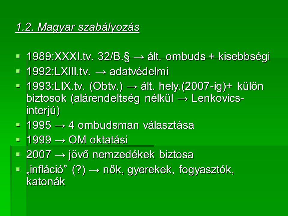 1.2. Magyar szabályozás  1989:XXXI.tv. 32/B.§ → ált.