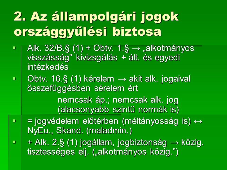 2. Az állampolgári jogok országgyűlési biztosa  Alk.