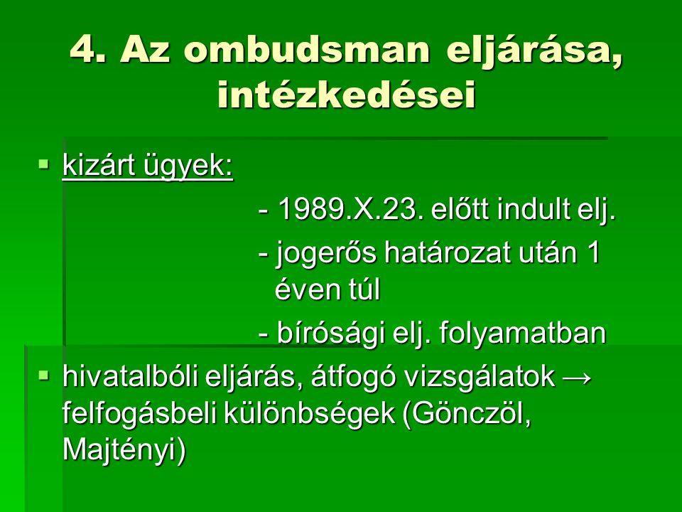 4. Az ombudsman eljárása, intézkedései  kizárt ügyek: - 1989.X.23.
