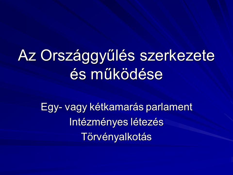 Az Országgyűlés szerkezete és működése Egy- vagy kétkamarás parlament Intézményes létezés Törvényalkotás