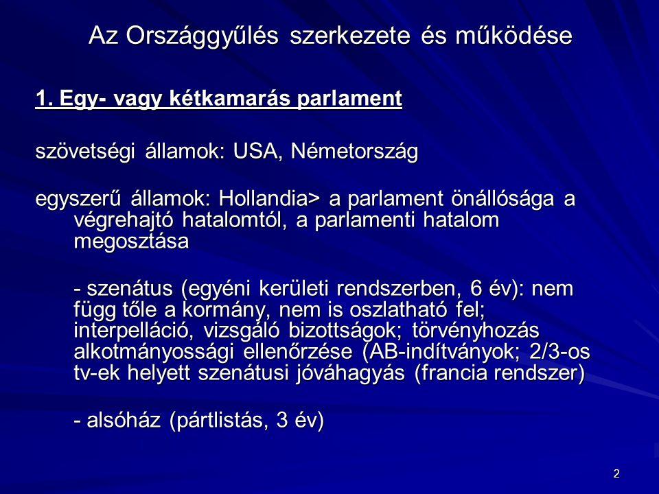 2 Az Országgyűlés szerkezete és működése 1. Egy- vagy kétkamarás parlament szövetségi államok: USA, Németország egyszerű államok: Hollandia> a parlame
