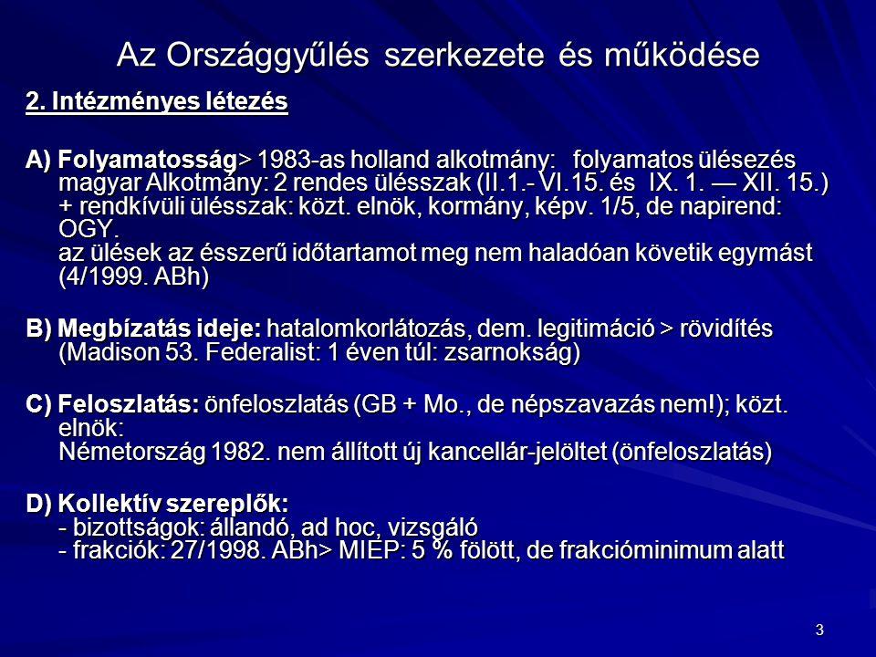 3 Az Országgyűlés szerkezete és működése 2. Intézményes létezés A) Folyamatosság> 1983-as holland alkotmány: folyamatos ülésezés magyar Alkotmány: 2 r