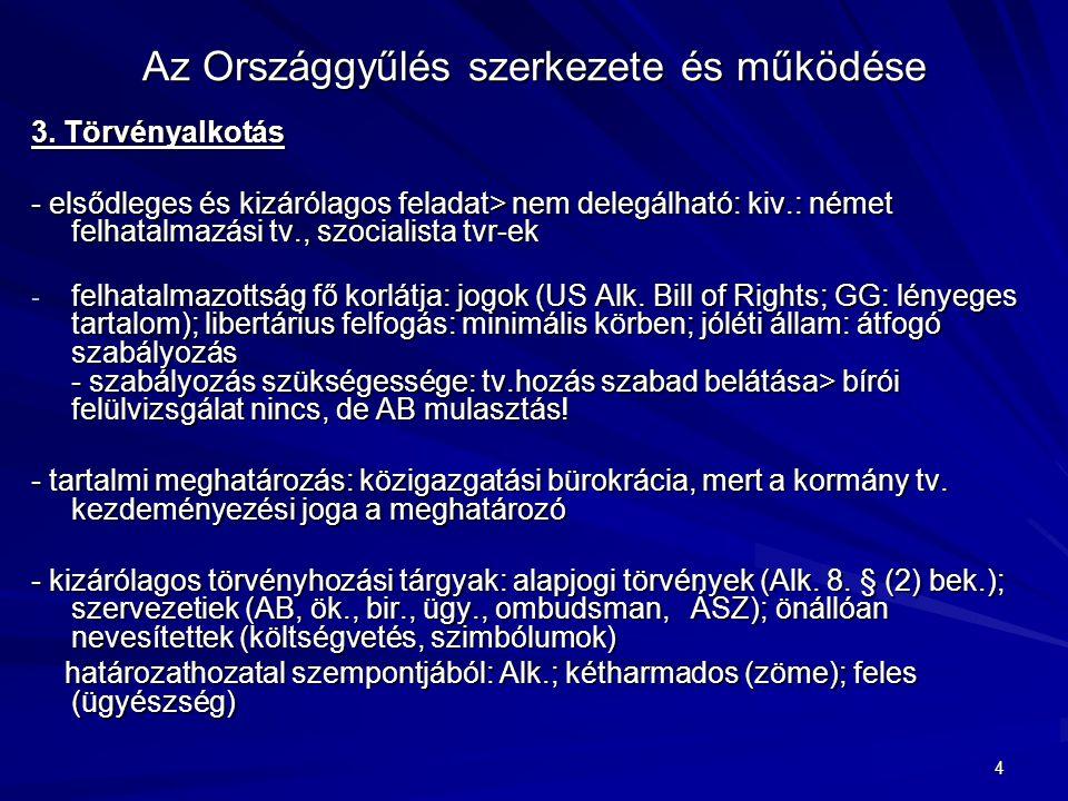 4 Az Országgyűlés szerkezete és működése 3. Törvényalkotás - elsődleges és kizárólagos feladat> nem delegálható: kiv.: német felhatalmazási tv., szoci