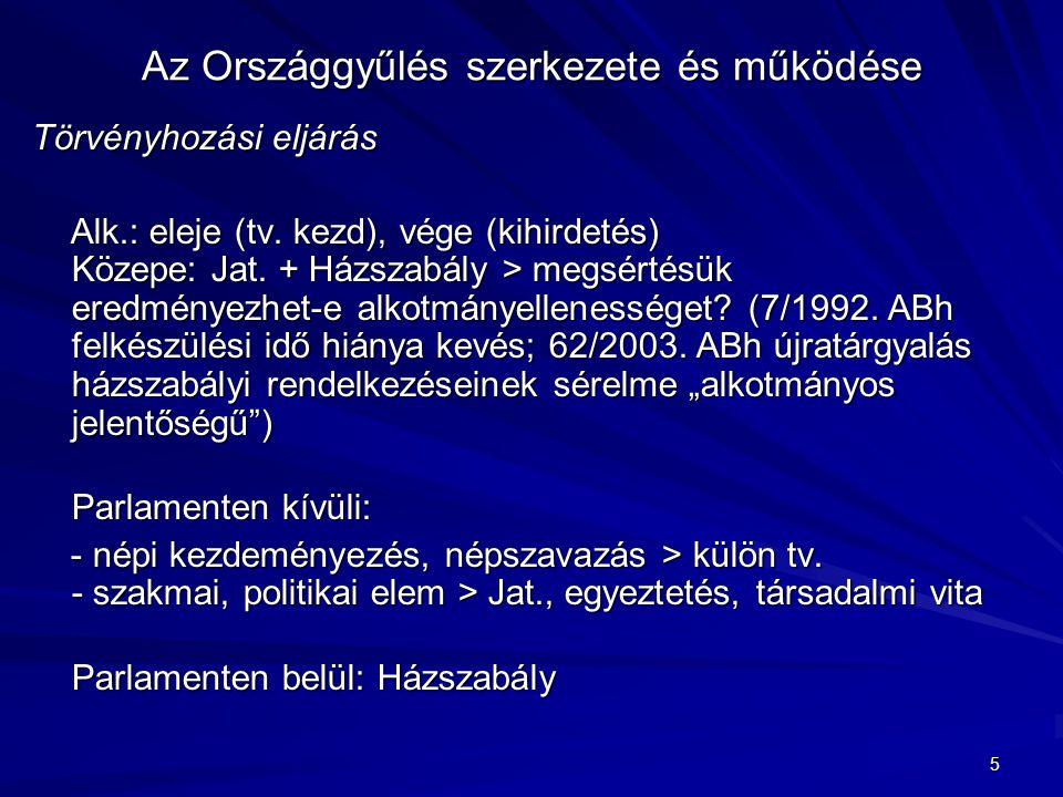 5 Az Országgyűlés szerkezete és működése Törvényhozási eljárás Alk.: eleje (tv. kezd), vége (kihirdetés) Közepe: Jat. + Házszabály > megsértésük eredm