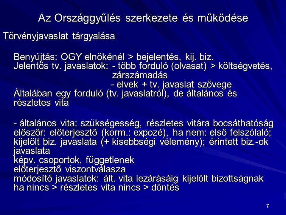 7 Az Országgyűlés szerkezete és működése Törvényjavaslat tárgyalása Benyújtás: OGY elnökénél > bejelentés, kij. biz. Jelentős tv. javaslatok: - több f
