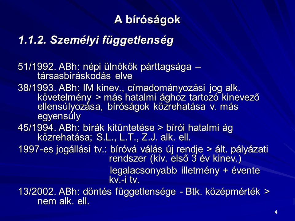 4 A bíróságok 1.1.2. Személyi függetlenség 51/1992. ABh: népi ülnökök párttagsága – társasbíráskodás elve 38/1993. ABh: IM kinev., címadományozási jog