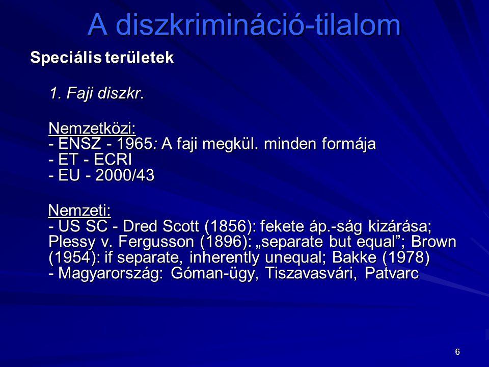 6 A diszkrimináció-tilalom Speciális területek 1. Faji diszkr. Nemzetközi: - ENSZ - 1965: A faji megkül. minden formája - ET - ECRI - EU - 2000/43 Nem