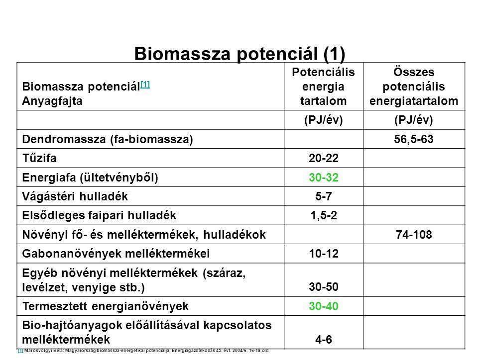 Biomassza potenciál (1) Biomassza potenciál [1] [1] Anyagfajta Potenciális energia tartalom Összes potenciális energiatartalom (PJ/év) Dendromassza (f