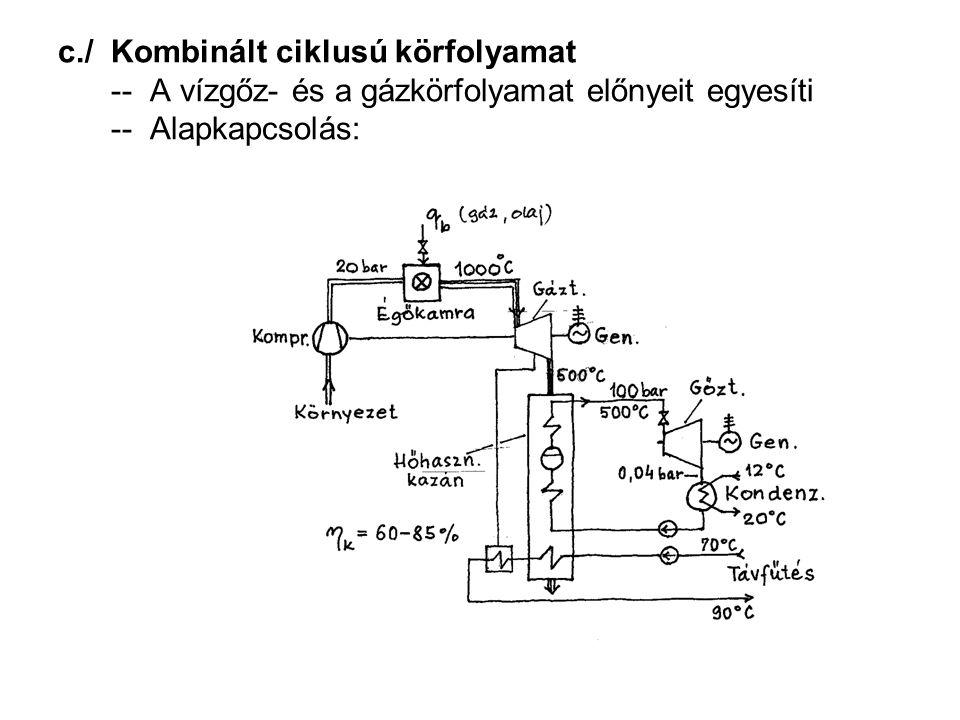 c./ Kombinált ciklusú körfolyamat -- A vízgőz- és a gázkörfolyamat előnyeit egyesíti -- Alapkapcsolás: