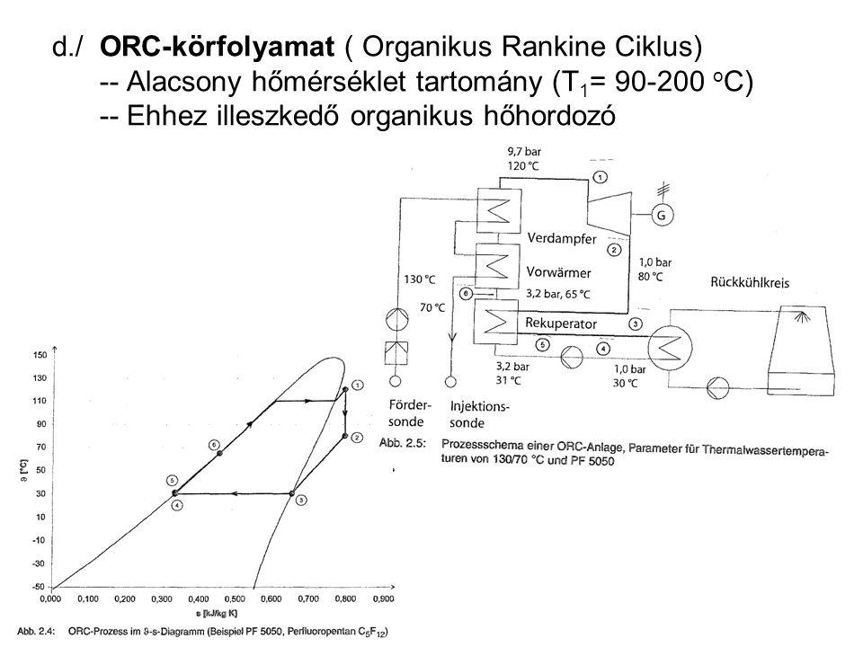d./ ORC-körfolyamat ( Organikus Rankine Ciklus) -- Alacsony hőmérséklet tartomány (T 1 = 90-200 o C) -- Ehhez illeszkedő organikus hőhordozó